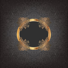 Rich golden frame on a black patterned background
