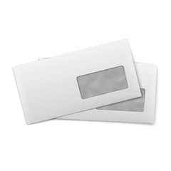 Blank envelopes with window on white background.
