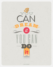 Quotes by Walt Disney. Typographical vector design.