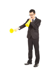 businessman screaming with megaphone