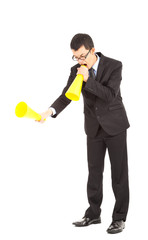 businessman blaming with megaphone