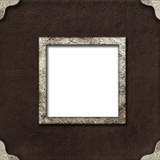 metal frame for photo on leather background