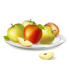 plate with ripe apples