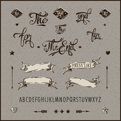 Bundle vintage hipster ribbon, arrow, alphabet., vector Eps10.
