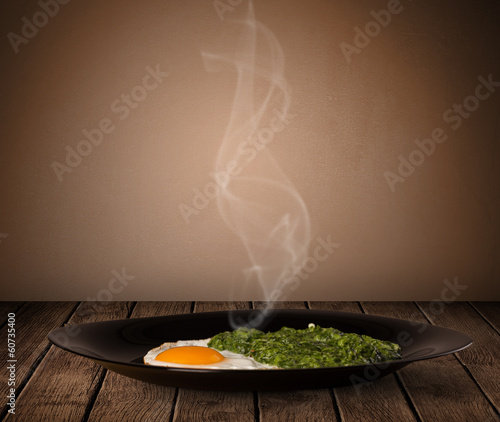 Fresh delicious home cooked food with steam
