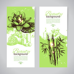 Set of spa banners. Vintage hand drawn sketch vector illustratio