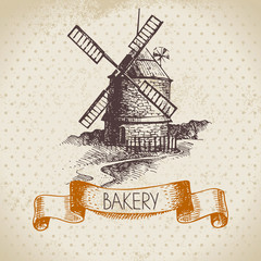 Bakery sketch background. Vintage hand drawn illustration of mil