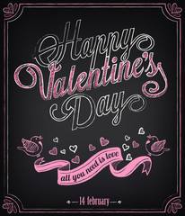 Happy Valentines Day background. Retro design hand lettering