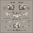 Bundle of design elements, vintage gravure style, vector Eps10.