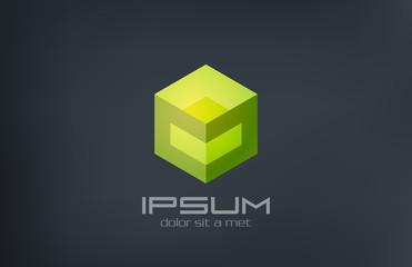 Logo Cube sci-fi abstract design. Gaming concept icon
