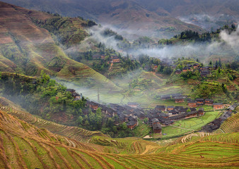 Farmhouses in the highlands of China, farm land, rice terraces.