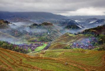 Peasant village in mountainous region of China agricultural, rur