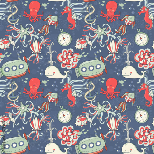 Underwater creatures seamless pattern