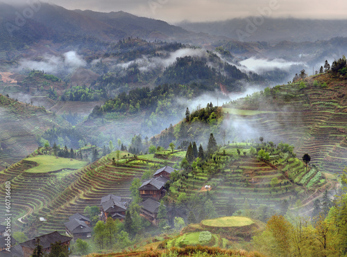 Leinwandbild Motiv Spring landscape with village and rice terraces, mountain rural