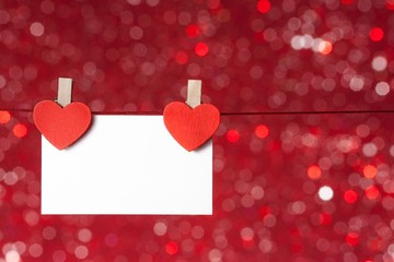 decorative greeting card hanging, concept valentine day