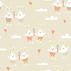 Romantic seamless pattern with cute rabbits in love.  Happy hare