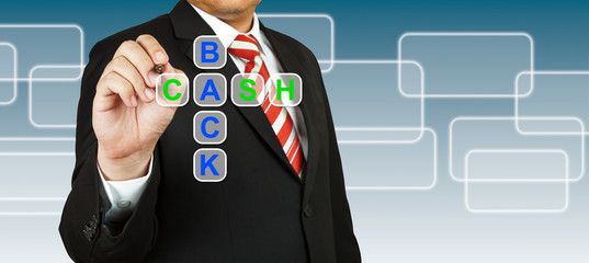 Businessman with wording Cash Back
