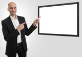 businessman presenting something on а blank screen