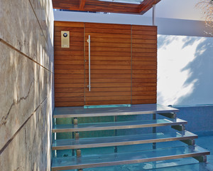 Contemporary house entrance with water pool, Athens  Greece