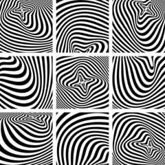 Set of op art textures in zebra pattern design.