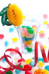 colored caramel sweets, party