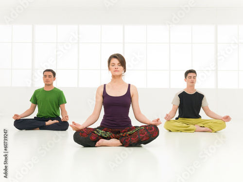 group lotus yoga posture