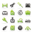 Car parts and services icons - vector icon set 1