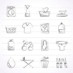 Washing machine and laundry icons - vector icon set
