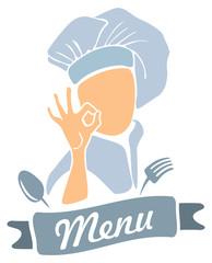 Cook presenting menu