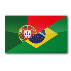 Flagge mit Übersetzung in portugiesisch und brasilianisch