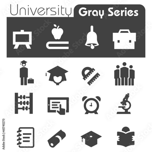 University Icons Gray Series