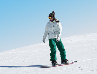 Snowboarder at a ski resort