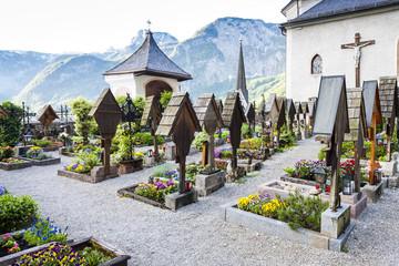 graveyard in Hallstatt, Upper Austria, Austria