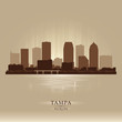 Tampa Florida city skyline vector silhouette