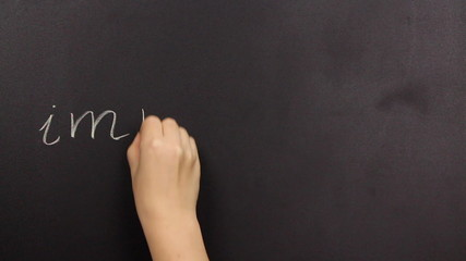 Positive thinking, writing possible on a blackboard