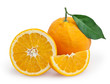 Oranges with leaf isolated on white background