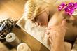 blonde girl getting massage