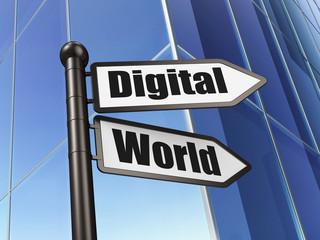 Data concept: sign Digital World on Building background
