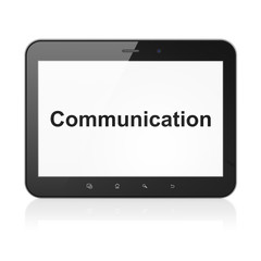 Marketing concept: Communication on tablet pc computer