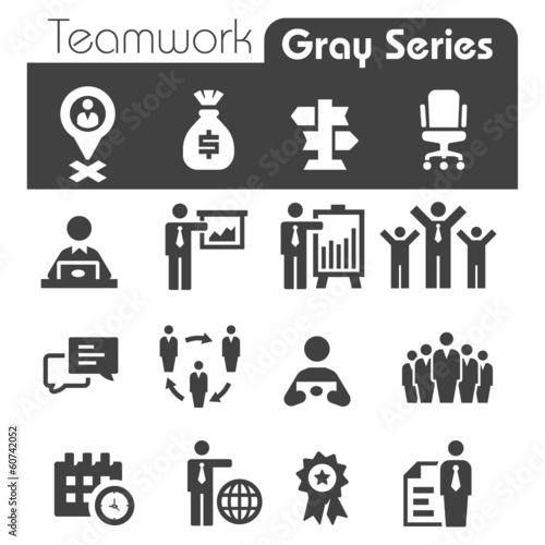 Teamwork Icons Gray Series