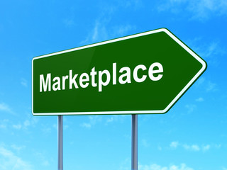 Advertising concept: Marketplace on road sign background