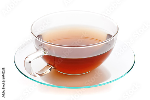 Hot tea in glass cup