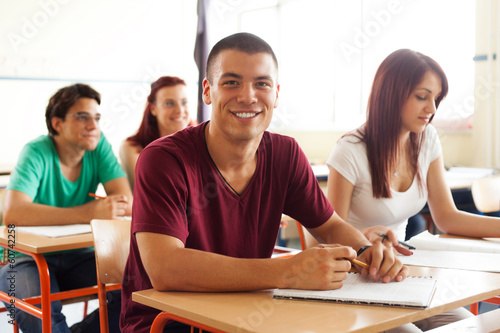 Students in classroom during class