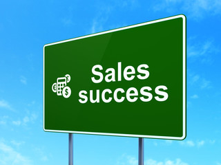 Marketing concept: Sales Success and Calculator on road sign