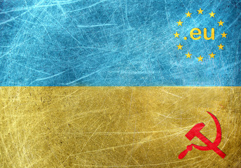 EU against Russia motif on the flag of Ukraine