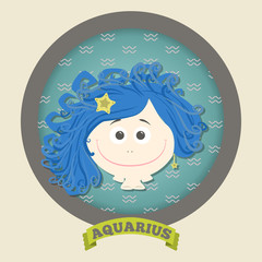 Zodiac signs collection.Cute horoscope - aquarius.