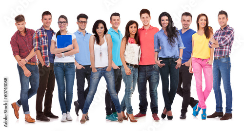 happy group of young casual people standing together
