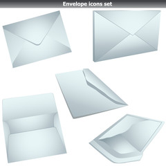 Envelope set isolated on white
