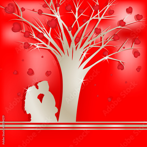Tree of love with lovers silhouette