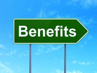 Finance concept: Benefits on road sign background